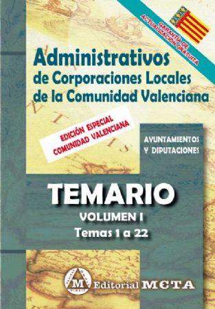 ADMINISTRATIVOS DE CORPORACIONES LOCALES DE LA COMUNIDAD VALENCIANA (TEMARIO) TEMAS 1 A 20