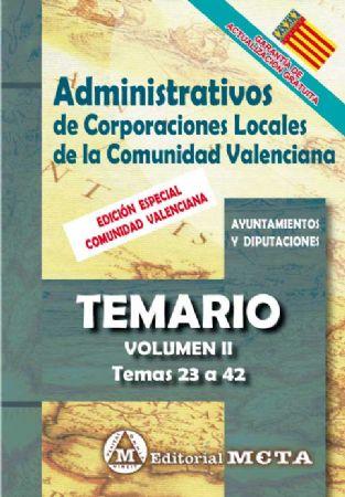 ADMINISTRATIVOS DE CORPORACIONES LOCALES DE LA COMUNIDAD VALENCIANA (TEMARIO) TEMAS 21 A 41