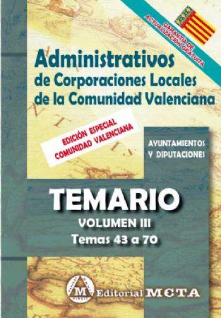 ADMINISTRATIVOS DE CORPORACIONES LOCALES DE LA COMUNIDAD VALENCIANA (TEMARIO) TEMAS 42 A 65