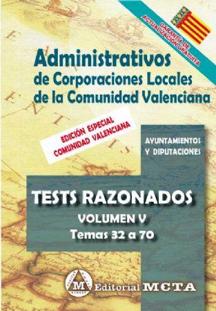 ADMINISTRATIVOS DE CORPORACIONES LOCALES DE LA COMUNIDAD VALENCIANA (TESTS) TEMAS 32 A 65