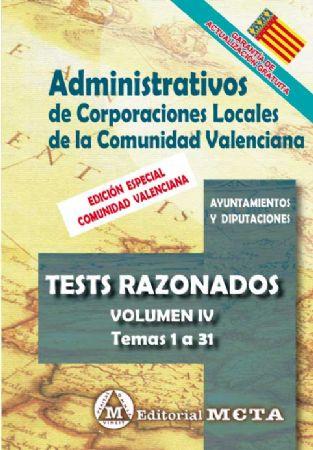 ADMINISTRATIVOS DE CORPORACIONES LOCALES DE LA COMUNIDAD VALENCIANA (TESTS) TEMAS 1 A 31